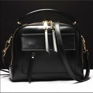 Evolving Always Bags - New Black Pebble Leather Compact Bag